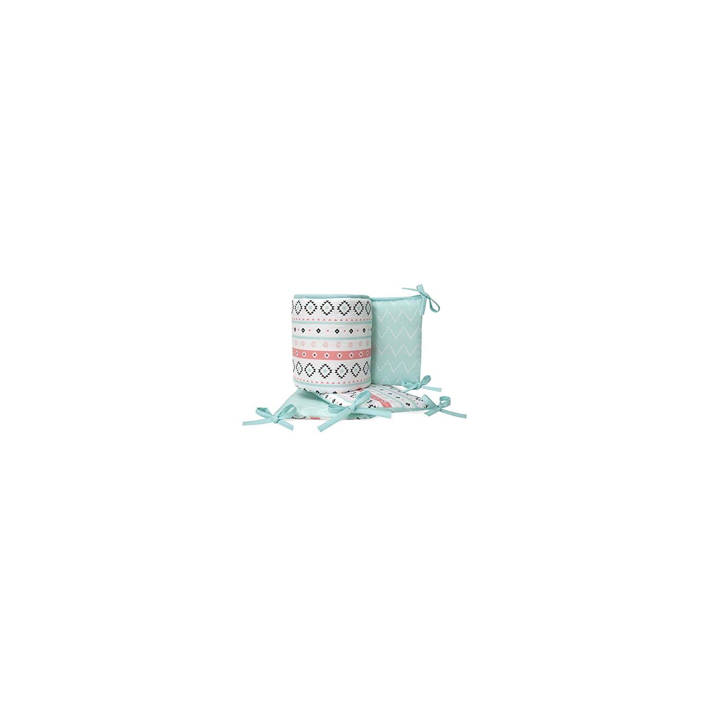 Lambs & Ivy Little Spirit 4-Piece Crib Bumper – Blue, White, Coral, Modern