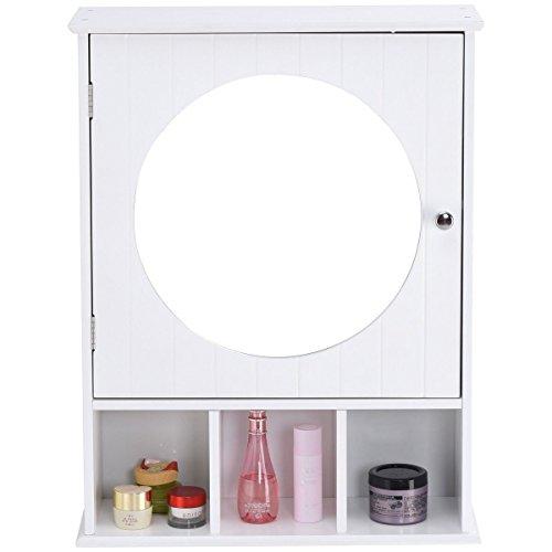 Moon_Daughter Bathroom Wall Mount Storage Cabinet Wood Shelf Organizer Over Sink w/Round Mirror by Moon_Daughter