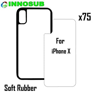 75 x Apple iPhone X-Rubber-Black - blank dye case + inserts for dye Sublimation phone cover / blank Printable case, Made by INNOSUB USA