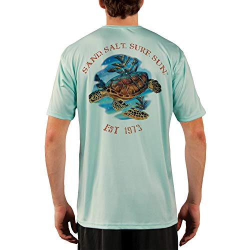 (SAND.SALT.SURF.SUN. Sea Turtle Men's UPF 50+ Short Sleeve T-Shirt XX-Large Seagrass)