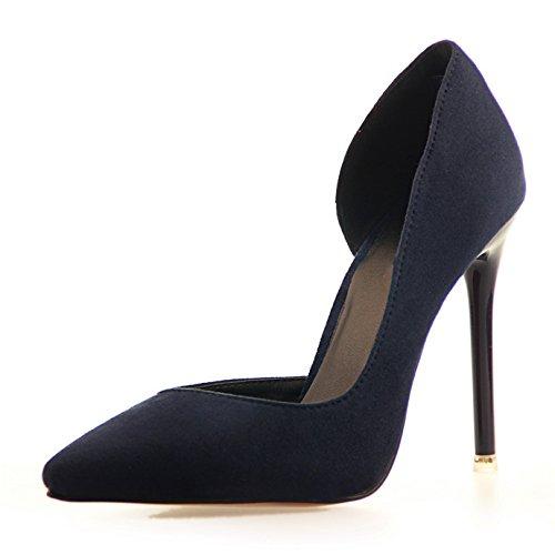 Daim Marine Bleu Chaussures Office Bout Pointu Sexy Escarpins Aspect OALEEN Femme Talon Haut Aiguille aq70TO