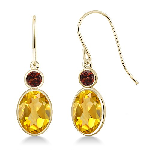 2.74 Ct Oval Yellow Citrine Red Garnet 14K Yellow Gold Earrings Oval Citrine Bezel