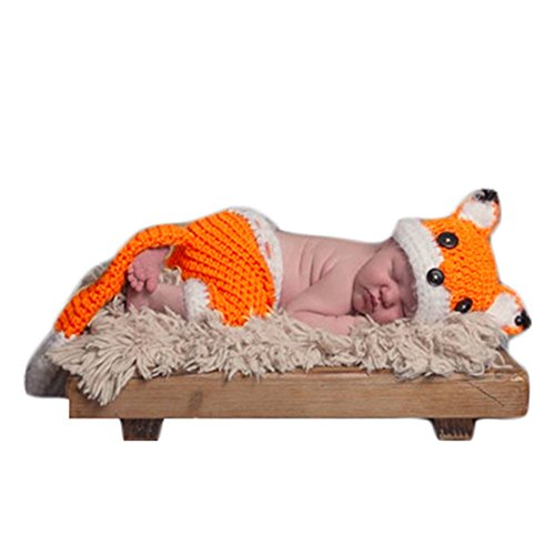 Newborn Photos Baby Photography Shoot Props Outfits Crochet Knit Lovely Fox Hat Shorts for Boy Girls Photo Shoot White -