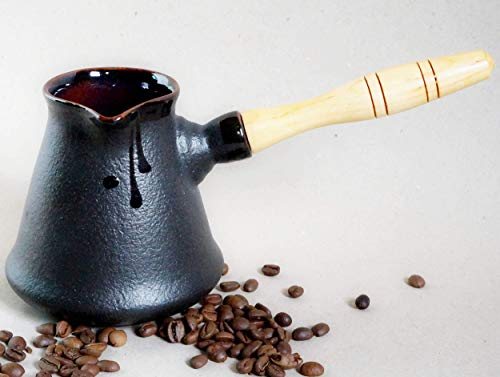 (Handmade ceramic cezve, Black pottery turkish coffee pot 10 oz, 14oz, Coffee lovers gift, Gift for boyfriend, Birthday gift for him men)
