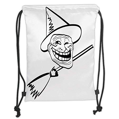 Custom Printed Drawstring Backpacks Bags,Humor Decor,Halloween Spirit Themed Witch Guy Meme Lol Joy Spooky Avatar Artful Image,Black White Soft Satin,5 Liter Capacity,Adjustable String Closure,Th ()