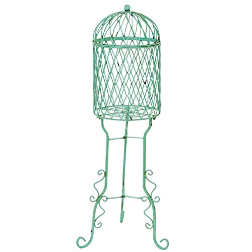 Birdcage Plant Stand - GAIGAI Country Bird Cage Vintage Plant Stand & Flower Pot Holder Garden, Home Décor, Wrought Iron Weather Resistant, Heavy Duty Indoor Outdoor Office Desktop Racks, Flower Stand, Green Rust