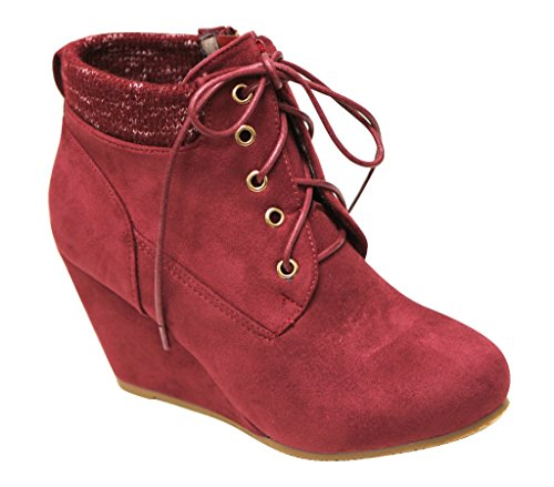 Bella Marie Sally-29 Womens almond toe wedge heel lace up woven padded collar side zip suede ankle booties Wine