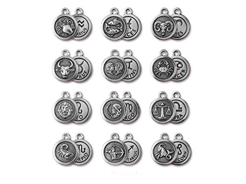 Wholesale Tierracast Zodiac Sign Charm Set of 12, Pewter Fine SIlver plated , Antique - Charm Plated Zodiac