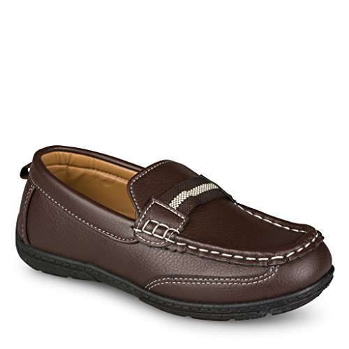 [SCS804P-BRN-T6] Shoe Shox Loafers for Boys & Toddlers – Faux Leather Moccasins, Rubber Sole (Brown Toddler Dress Shoes)