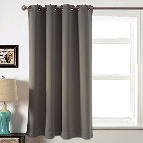 AMAZLINEN Sleep Well Blackout Curtains Toxic Free Energy Smart Thermal Insulated,52 W X 63 L Inch,Grommet Top,Set Of 2 Panels With Bonus Tie Back(Grey)