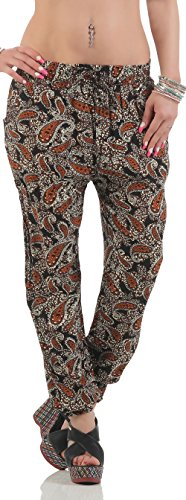malito Pantalones Anchos Paisley Patrón Pantalón Bombacho DS-9090 Mujer marrón