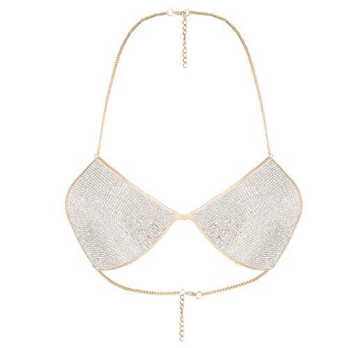 lan27 Sexy Women Nightclub Bling Crystal Bra Party Body Jewelry Bikini Beach Harness Slave Gold Color Necklace Bra by lan27