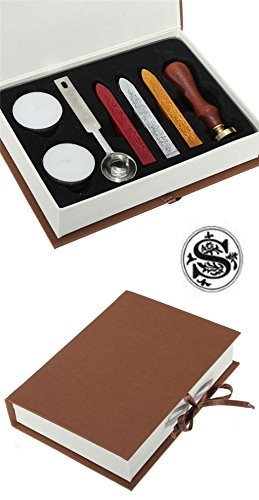 Gift Pro European Retro Wooden Alphabet Letter Initial Wax Seal Stamp Kit Vintage Letter / Envolop Wax Sealing Set with Gold Red Silver Sticks (Stick Initial Wax Seals)