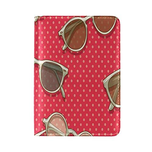(Passport Cover Case Square Sunglasses Vintage Color Leatherµfiber Multi Purpose Print Passport Holder Travel Wallet For Women&Men 5.51x3.94In)