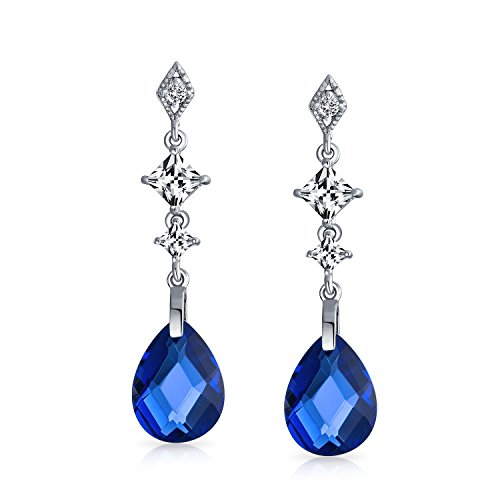 Royal Blue Briolette Faceted Teardrop Pear Shape Cubic Zirconia CZ Chandelier Earrings For Women Sterling Silver (Briolette Earrings Drop Zirconia Cubic)