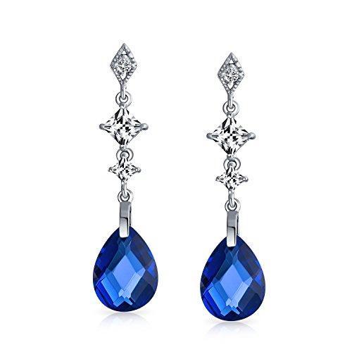 - Royal Blue Briolette Faceted Teardrop Pear Shape Cubic Zirconia CZ Chandelier Earrings For Women Sterling Silver