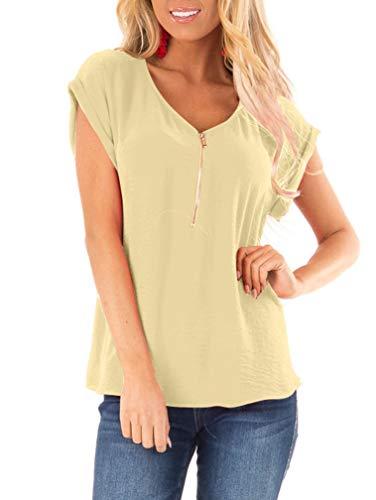 (LAGSHIAN Women's Short Sleeve Shirts V Neck Summer Casual Zip Front Blouse T-Shirt Tops)