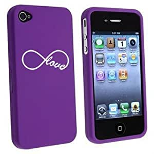 Apple iPhone 4 4S Purple Rubber Hard Case Snap on 2 piece Infinity Infinite Love