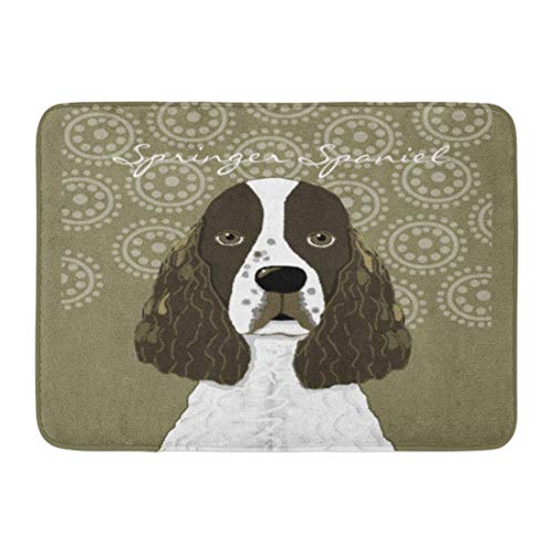 SPXUBZ English Springer Spaniel Brown White Non Slip Entrance Rug Outdoor/Indoor Durable and Waterproof Machine Washable Door Mat Size:23.6x15.7 inch