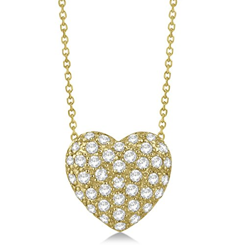 Women's Contemporary Puffed Pave Set Diamond Heart Pendant Necklace in 14k Yellow Gold (1.04 carats)