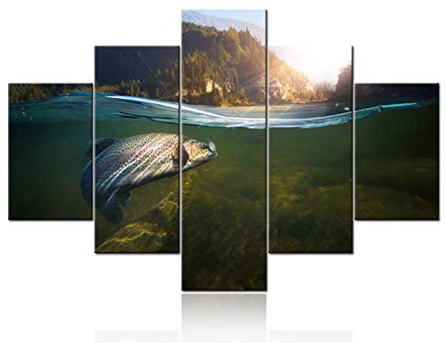 Wall Paintings for Living Room A Fish Hook Under Water Pictures Fishing Tackle Wall Art 5 Panel Printed on Canvas Ocean Artwork Home Modern Decor Gallery-Wrapped Framed Ready to Hang(60''Wx40''H)