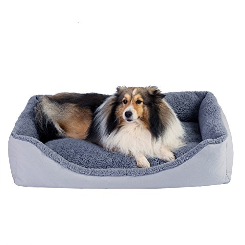 (PETWE Dog Bed Soft Plush Bolster Reversible Pet Bed Pillow with Removable Washable Cover, Large/Jumbo, Light Gray-Large)