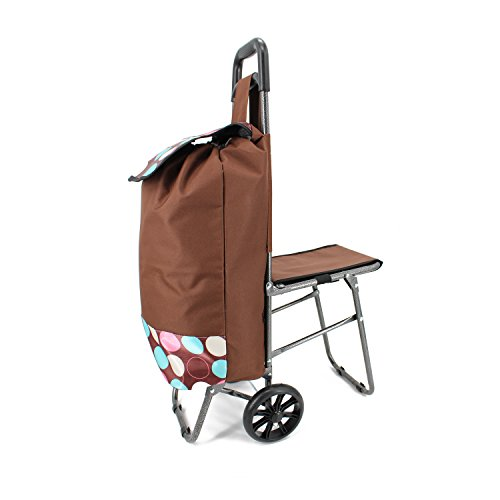 Shopping Cart Trolley Bag With Wheels and Easy Fold Chair - Super Light Weight Large Grocery Bag