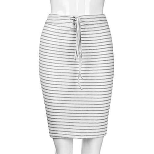 LTUI Casual Stripe Cotton Blend Knee-Length Art High Waist Summer Elastic Short Skirt,So Fashion