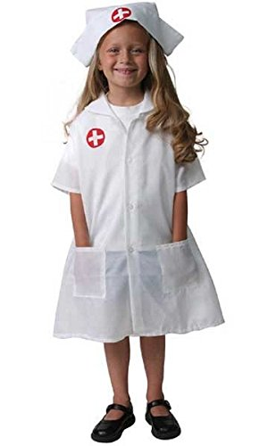 Girls White Nurse Dress-Up Set, Size 6/8 (Nurse Costume For Kids)