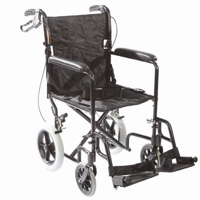 Roscoe Medical Transport Chair with 12-inch Rear Wheels and Loop Brakes Black Finish