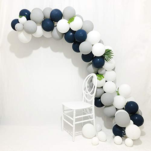 Balloon Garland Arch Kit 16Ft Long Blue and Gray Balloons 90 pcs 12 inch Navy Blue Balloons White Balloons Matte Balloons and Gray Balloons for Royal Baby Shower, The Little Prince, Navy Party
