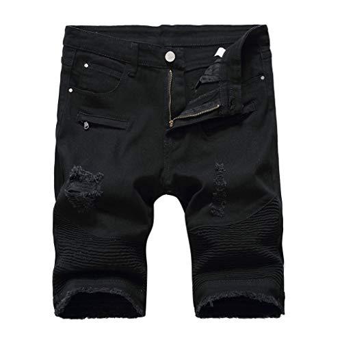 (iFOMO Mens Plus Size Bermuda Casual Shorts Ripped Zipper Fly Cotton Shorts Black 38)