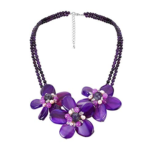 AeraVida Cultured Freshwater Pearl Center Triple Reconstructed Purple Agate Flower .925 Sterling Silver Necklace