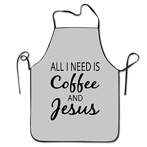 KITC All I Need Is Coffee And Jesus White Funny Unisex Barbecue Apron With Black Border