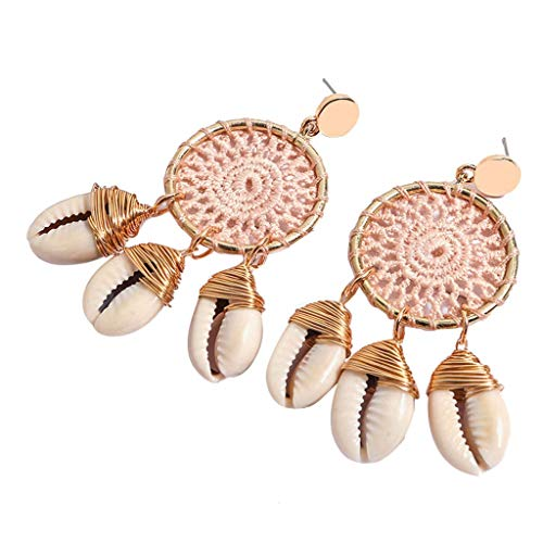 Mitiy Rattan Shell Earrings, Straw Wicker Braid Woven Eardrops, Boho Cowrie Shell Statement Stud Earrings for Women Girls Pink