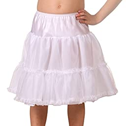 I.C. Collections Big Girls Lace Embellished White Bouffant Half Slip, 8