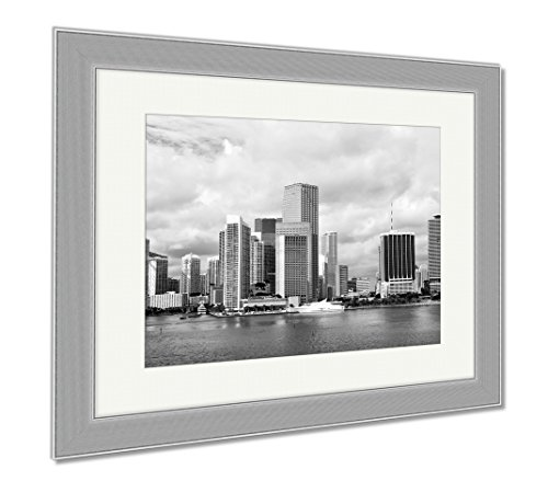 Ashley Framed Prints Miami Seascape With Skyscrapers In Bayside, Wall Art Home Decoration, Black/White, 34x40 (frame size), Silver Frame, - Miami Beach Bayside