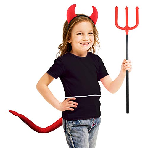 Red Arrow Halloween Costumes Girl - Devil-Tail-Costume with Red Demon-Horns and Trident