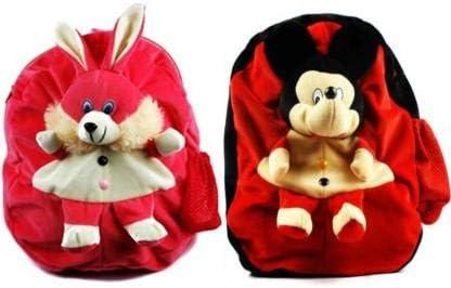 REGALLO Cute Bunny & Mickey Soft Toy Plush Bag Combo