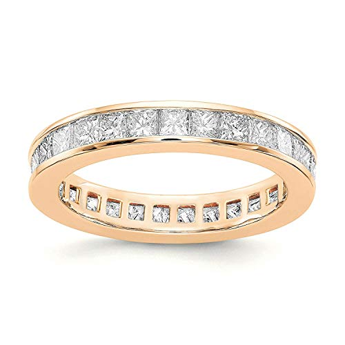 PAVOI 14K Gold Plated Cubic Zirconia Rings | Princess Cut Eternity Bands | Stackable Rose Gold Ring Size 5