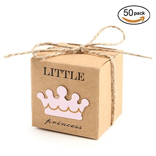 Baby Shower Treat Box (Kraft Gift Boxes Baby Shower Princess 2x2x2 inch with Rope for Candy Treat Gift Wrap Box Party Favor 50pc by MOWO)