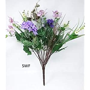 "20"" Lilac Pansy Mixed Flowers Bush Greenery Silk Wedding Flowers Bouquet Centerpiece Home Party Decor 12 Stems 80"