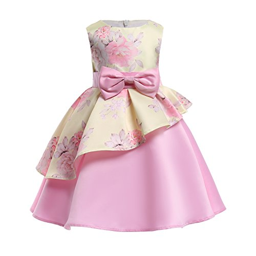 AIMJCHLD Flower Girls Dress Christmas Easter Halloween National Flag Day Dresses Size 4-5T (Pink Yellow, 120)
