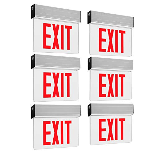 LEONLITE LED Edge Lit Red Exit Sign Single Face with Battery Backup, UL Listed, AC120V/277V, Ceiling/Left End/Back Mount Emergency Light for Hotel, Restaurant, Hospitals, Pack of - Mount End