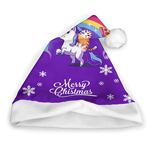 Pizza Unicorn Adults Christmas Cap Santa Hat DIY Xmas Costumes Unisex Christmas Eve Headdress]()