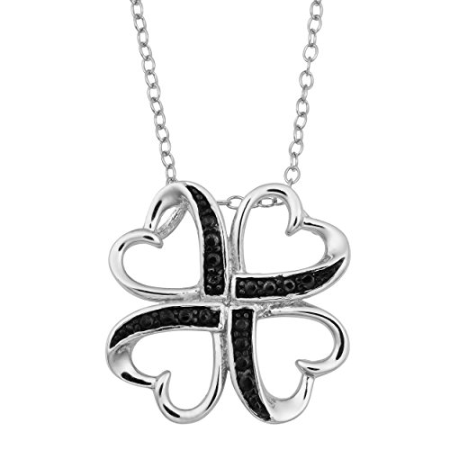 Diamond Accent Clover Pendant - Sterling Silver Black Diamond-Accent Heart Clover Pendant Necklace (18 inch)