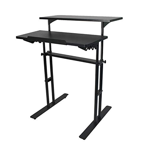 (YURUCY Standing Desk Chair Office Computer Black Desk Writing Student Desk Height Adjustable Home Table(Black Desk))