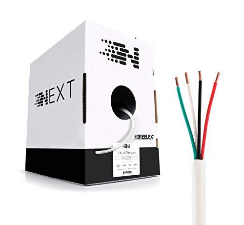 Next 16-4 Plenum Speaker Wire - No CCA (Solid/Full Copper) - CL3P Rated - 500ft Bulk Wire Pull Box - White