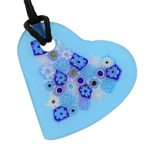 GlassOfVenice Murano Glass Matte Millefiori Heart Necklace - Blue