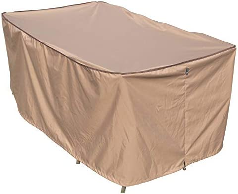 TrueShade Plus Rectangular Outdoor Table and Chair Set Cover Water-Resistant Large 128 L x 82 W x 36 H Tan